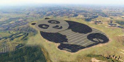 China a construit un parc solar sub forma unui panda gigant
